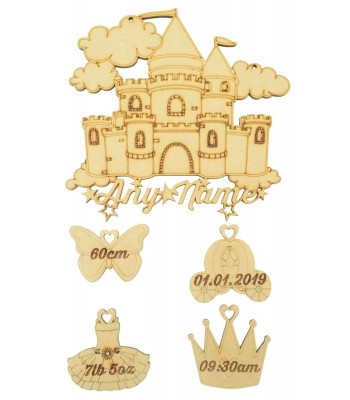 Laser cut Personalised Birth Details Princess Castle with Hanging Shapes